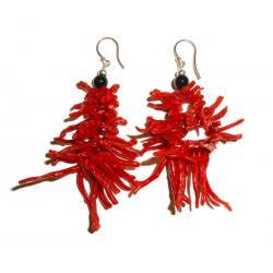 Acheter Boucles d'Oreilles en Corail Rouge Onyx et Argent Femme CR018