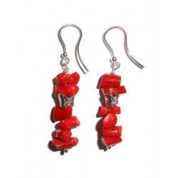 Acheter Boucles d'Oreilles en Corail Rouge et Argent Femme CR029