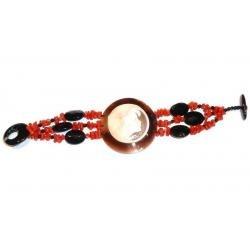 Bracelet de Corail Rouge et Onyx avec Camée Femme CR201