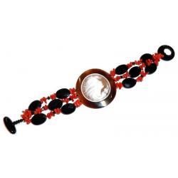 Bracelet de Corail Rouge et Onyx avec Camée Femme CR202