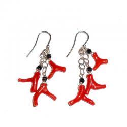 Acheter Boucles d'Oreilles en Corail Rouge Onyx et Argent Femme CR229