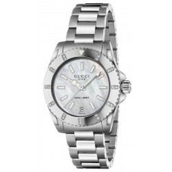 Acheter Montre Femme Gucci Dive Medium YA136405 Diamants Nacre Quartz