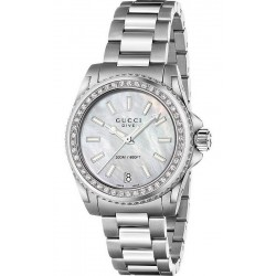 Acheter Montre Femme Gucci Dive Medium YA136406 Diamants Nacre Quartz